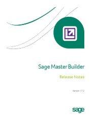 Sage Master Builder Version 17 Release Notes