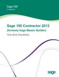 Sage Master Builder Year-End Checklists