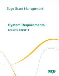 Sage Grant Management System Requirements