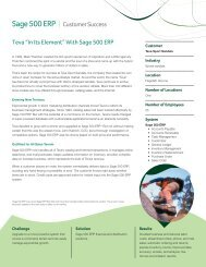 """Sage 500 ERP I Customer Success Teva """"In Its Element"""" With Sage ..."""