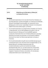 Beschluss der Umweltministerkonferenz - Bildung für nachhaltige ...