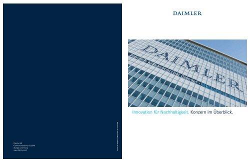 Innovation für Nachhaltigkeit. Konzern im Überblick. - Daimler