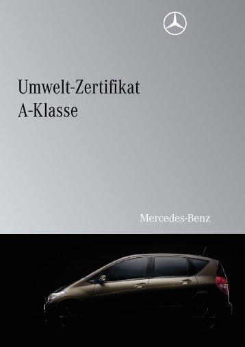 Umwelt-Zertifikat A-Klasse - Mercedes-Benz