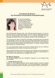 Frontotemporale Demenz – eine Demenzform mit besonderen ...