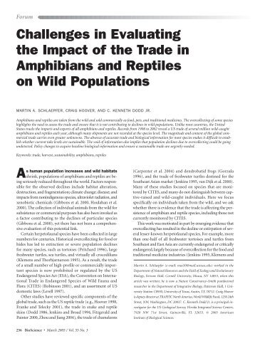 Challenges in Evaluating the Impact of the Trade in Amphibians and ...