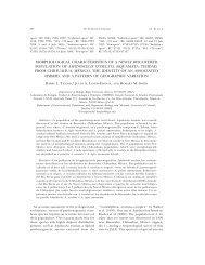 morphological characteristics of a newly discovered population of ...