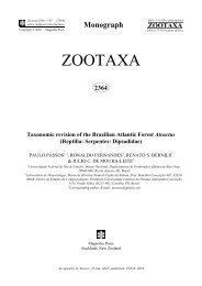 Zootaxa, Taxonomic revision of the Brazilian Atlantic Forest Atractus ...