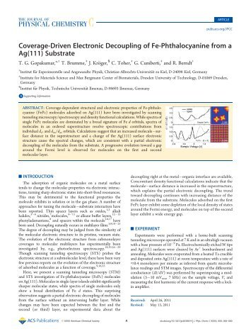 Coverage-Driven Electronic Decoupling of Fe-Phthalocyanine from ...