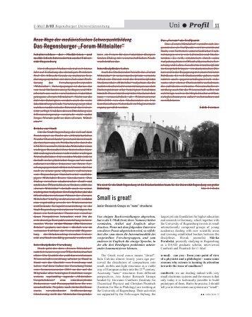 "Uni • Profil Das Regensburger ""Forum Mittelalter"" - Chair of ..."