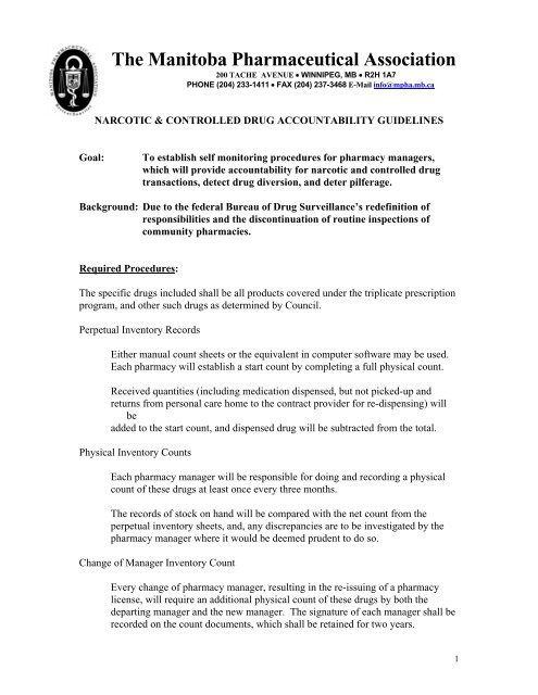Narcotic And Controlled Drug Accountability Guidelines