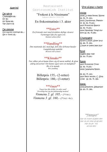 """Tempo"""" - Restaurant Gastronomisk Institut"""