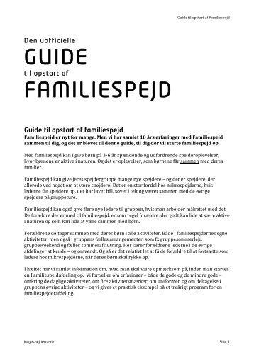 Guide til opstart af Familiespejd - Køgespejderne