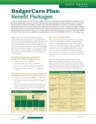 BadgerCare Plus: Benefit Packages - National Academy for State ...