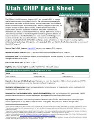 Utah CHIP Fact Sheet - National Academy for State Health Policy