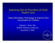 Reaching Out to Providers of Child Health Care