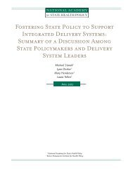 Fostering State Policy to Support Integrated Delivery Systems