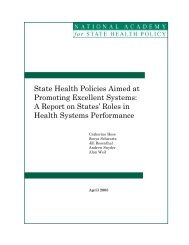 State health policies aimed at promoting excellent systems : a report