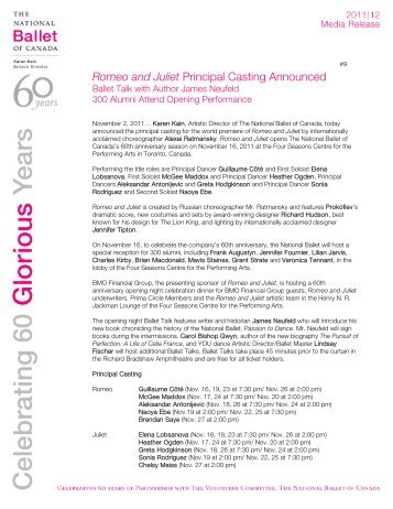 Romeo and Juliet Principal Casting - The National Ballet of Canada