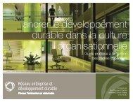 ancrer le développement durable dans la culture organisationnelle
