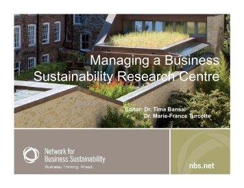 Managing a Business Sustainability Research Centre - Network for ...