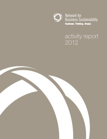 activity report 2012 - Network for Business Sustainability