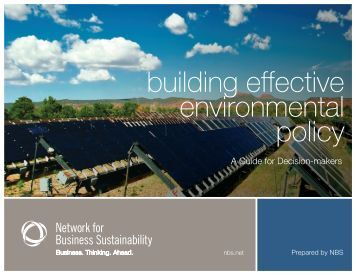 building effective environmental policy - Network for Business ...