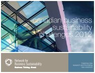 canadian business sustainability challenges 2012 - Network for ...