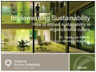 Presentation - Network for Business Sustainability