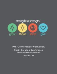 Pre-Conference Workbook - North Carolina Conference of The ...