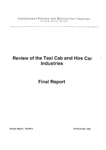 NSW Review of the Taxi Cab and Hire Car Industries, November 1999