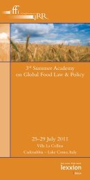3rd Summer Academy on Global Food Law & Policy 25-29 July 2011