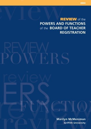 Review of the powers and functions of the Board of Teacher ...