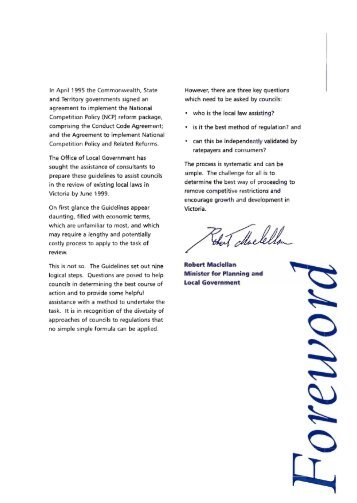 Vic local government guidelines for review of local law restrictions ...