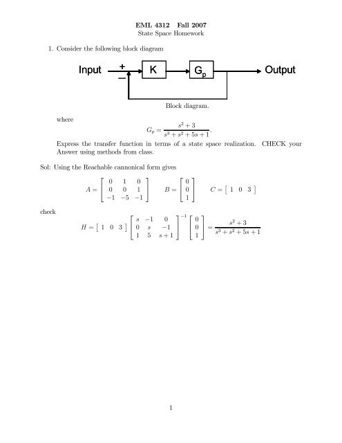 block diagram from state space state space hw solution  state space hw solution