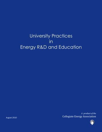 University Practices in Energy R&D and Education - National ...
