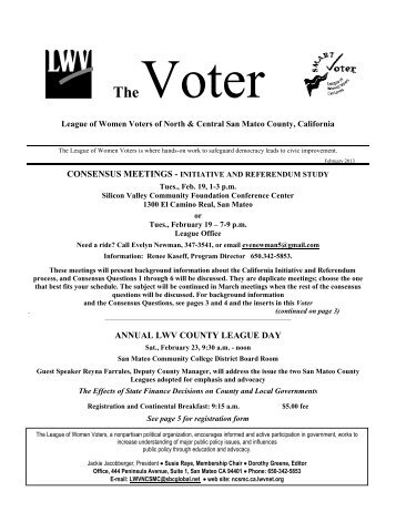February 2013 Voter - League of Women Voters of North and ...