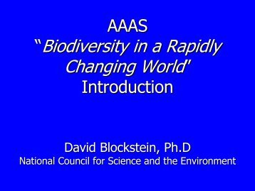 """Biodiversity in a Rapidly Changing World"""" - National Council for ..."