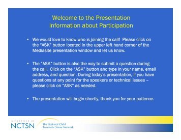 Welcome to the Presentation Information about Participation