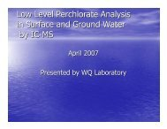 Low Level Perchlorate Analysis in Surface and Ground Water by IC-MS