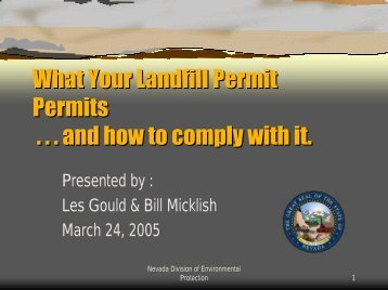 What Your Landfill Permit Permits . . . and how to comply with it ...