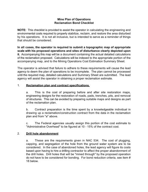 Mine Plan of Operations Reclamation Bond Checklist NOTE