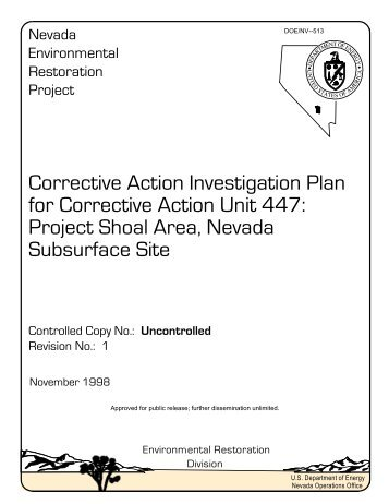 Corrective Action Investigation Plan for Corrective Action Unit 447 ...