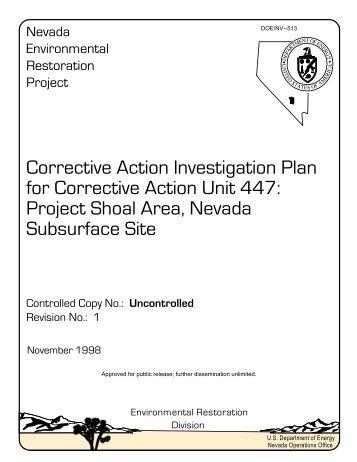 Corrective Action Investigation Plan for Corrective Action Unit 447 ...