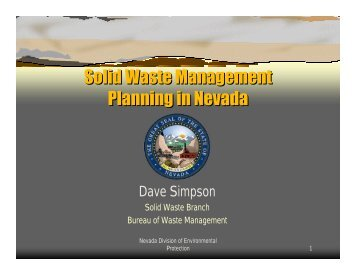 Solid Waste Planning in Nevada - Nevada Division of Environmental ...