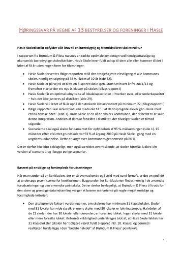 høringssvar på vegne af 13bestyrelser og foreninger i - Hasle Skole