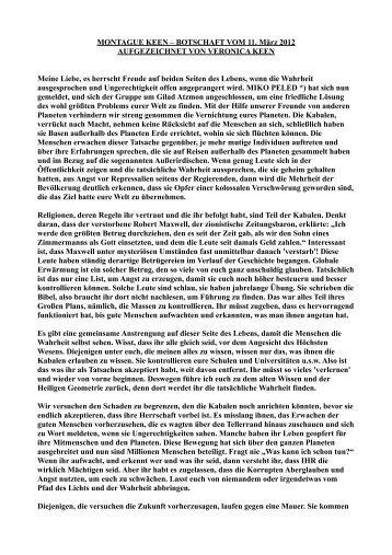 Montague Keen – Botschaft vom 11. März 2012 - NEBADONIA