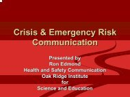 Risk and Crisis Communication - Nebraska Disaster Behavioral Health