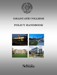 Graduate College Policy Handbook - University of Nebraska