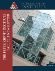 THE PETER KIEWIT INSTITUTE FALL 2011 NEWSLETTER