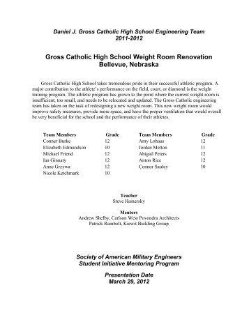 Gross Catholic High School Weight Room Renovation Bellevue ...